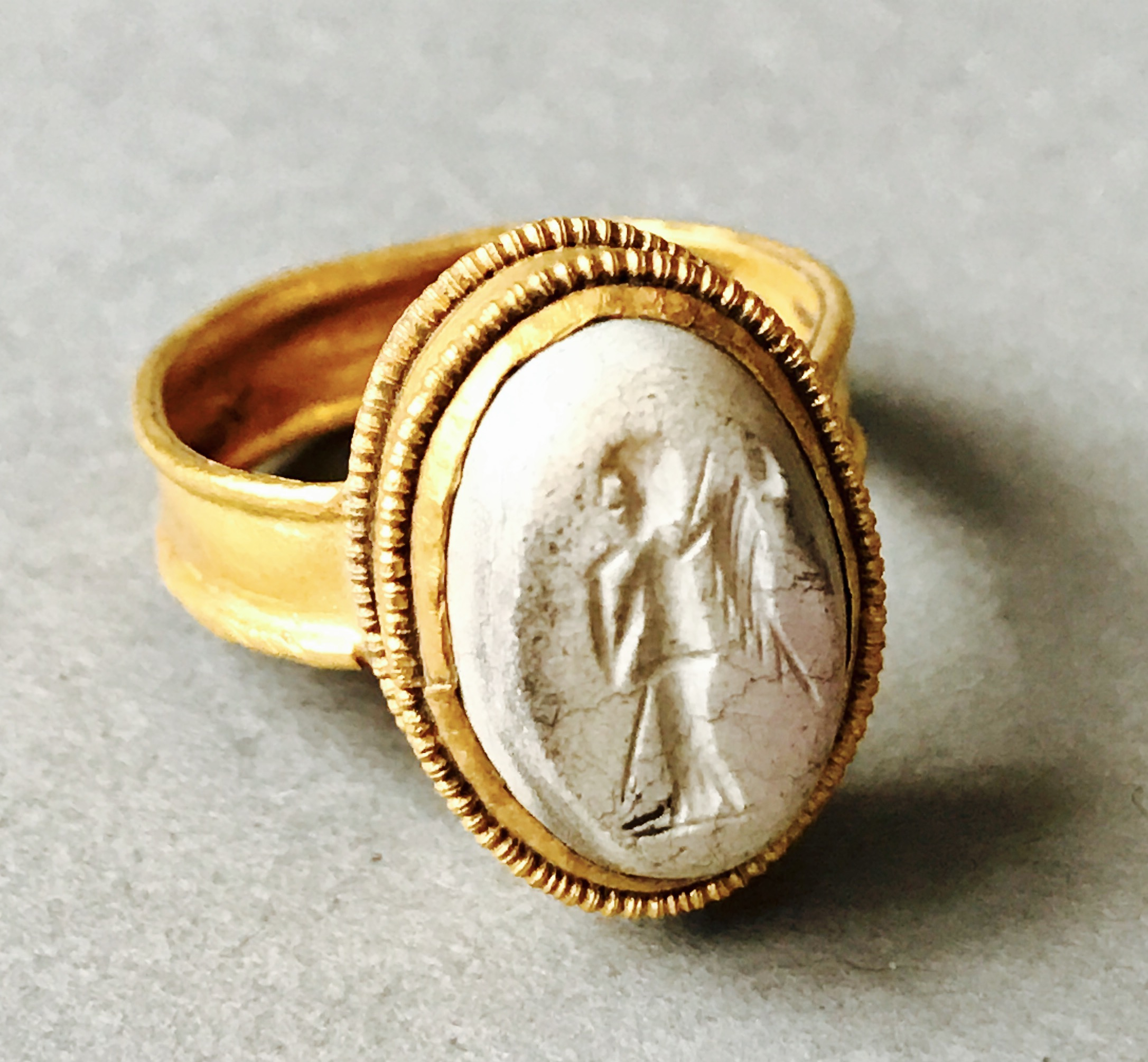 engagement neoclassical bronze aju to university ring renaissance rings ancient unicorn