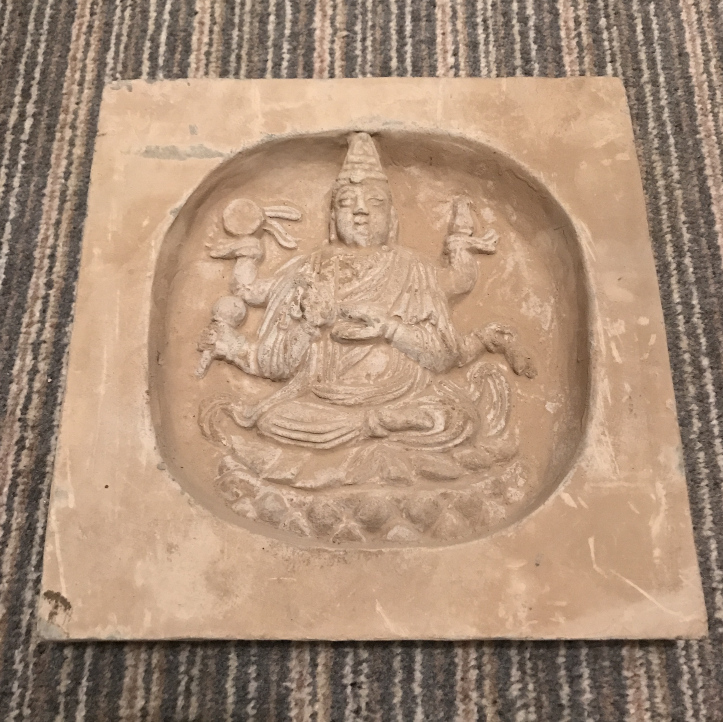 Ancient China Song Dynasty Stone Carved Tile With Buddha